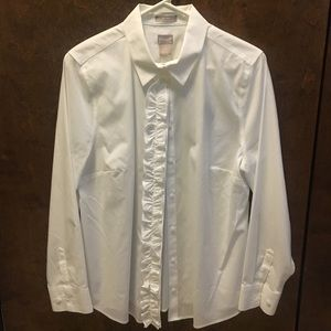 Chico's White Ruffle button-down